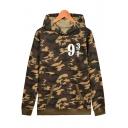 Leisure Camouflage Number Printed Long Sleeve Leisure Hoodie