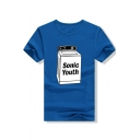 SONIC YOUTH Letter Graphic Printed Round Neck Short Sleeve Tee