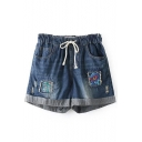 Roll Cuff Floral Embroidered Drawstring Waist Loose Denim Shorts