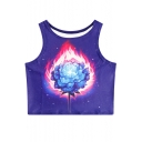 Fire Floral Printed Round Neck Sleeveless Crop Tank