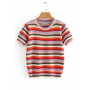 Colorful Striped Printed Round Neck Short Sleeve Knit Tee