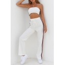 Contrast Striped Side Crop Bandeau with Drawstring Waist Leisure Pants Co-ords