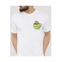 Sloth Cup Letter Printed Short Sleeve Round Neck Graphic Tee