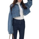 Dropped Shoulders Lapel Collar Long Sleeve Button Down Crop Denim Jacket