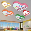 Cartoon Piano Ceiling Lamp Boys Girls Room Acrylic LED Flush Light Fixture in Warm/White/Third Gear
