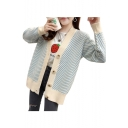 Leisure Striped Printed Long Sleeve Button Down Cardigan
