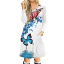 Butterfly Leaf Printed Round Neck Long Sleeve Midi A-Line Dress
