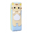 Lovely PU Cat Pattern Patched Zippered Pencil Case