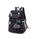 Cartoon Printed Larger Capacity Pom Pom Pendant Embellished Backpack School Bag