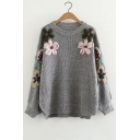 Beaded Floral Embellished Round Neck Long Sleeve Dip Hem Sweater