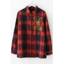 Bear Embroidered Plaid Printed Lapel Collar Long Sleeve Button Down Shirt