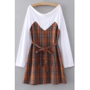 Plaid Printed Patchwork Round Neck Long Sleeve Tie Waist Midi A-Line Dress