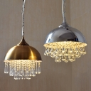 Contemporary Style Old Satin Brass/Polished Chrome One Bulb Pendant with Metal Dome Shade