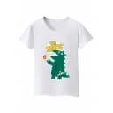THE SHIRTS Letter Dinosaur Printed Round Neck Short Sleeve Tee