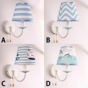 Sky Blue Conical Sconce Lighting Nautical Style Fabric 1 Light Wall Light Fixture with Pull Chain