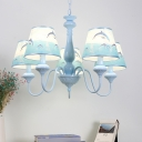 Fabric Tapered Hanging Light with Dolphin Mediterranean Children 5 Lights Island Chandelier in Sky Blue