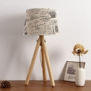 Rustic Style Tripod Table Lamp Fabric Shade 1 Head Decorative Table Light for Living Room