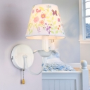White Finish Coolie Wall Mount Light Metal 1 Light Sconce Lighting with Pull Chain for Kids
