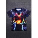 Universe Alien Printed Round Neck Short Sleeve Tee
