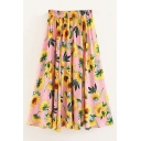 Fashionable Sunflower Pattern Elastic Waist Skirt