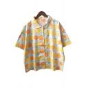 Allover Lemon Pattern Short Sleeve Button Down Shirt