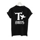 T BIRDS Letter Animal Printed Round Neck Short Sleeve Tee