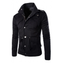 Stand Up Collar Long Sleeve Zip Up Plain Jacket with Pockets