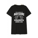 THIS IS WHAT AN AWESOME Letter Hand Printed Round Neck Short Sleeve Tee