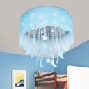 Nursery Chandelier Moon Star Crystal Hanging Light Fixture Drum Shade Flushmount Light