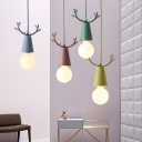 Antler Pendant Lamp Cartoon Modernism Kids Youth Bedroom Metal Single Light Hanging Light