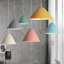 Conical 1 Light Pendant Lamp Colorful Macaron Metal Hanging Lamp for Corridor Kitchen