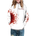 Blood I'M FINE Letter Printed Long Sleeve Unisex Hoodie