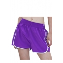 Letter Printed Side Contrast Striped Elastic Waist Leisure Loose Shorts
