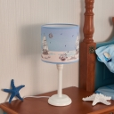 1 Light Boat Design Table Light Mediterranean Kids Plastic Standing Table Lamp in White/Third Gear