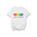 LOVE IS LOVE Letter Colorful Heart Printed Round Neck Short Sleeve Tee