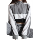 Stand Up Collar Zipper Front Color Block Long Sleeve Crop Sweatshirt