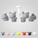 3/6 Lights Cartoon Mouse Chandelier Colorful Stylish Children Bedroom Metal Lighting Fixture