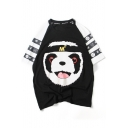 Hip Hop Style Panda Letter Color Block Round Neck Short Sleeve Tee