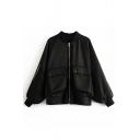 Stand Up Collar Plain Letter Embroidered Back Long Sleeve Zip Up Jacket