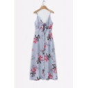 Knotted Front Button Embellished Spaghetti Straps Sleeveless Maxi Cami Dress