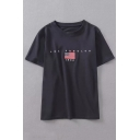 American Flag Letter Embroidered Round Neck Short Sleeve Tee