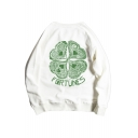 FORTUNES Letter Leaf Printed Round Neck Long Sleeve Sweatshirt