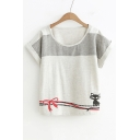 Color Block Striped Cat Printed Round Neck Short Sleeve Loose Tee