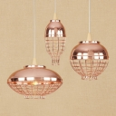 Industrial Style Wire Cage Hanging Pendant Light with Buffed Copper Shade Three Designs Available