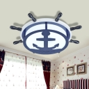 Acrylic Anchor Flush Mount Nautical Style Boys Bedroom LED Lighting Fixture in Navy Blue