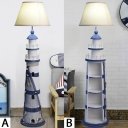 Fabric Lighthouse Standing Light Mediterranean Study Room 1 Light Floor Light in Blue