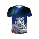 3D White Tiger Printed Round Neck Short Sleeve Tee