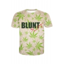 BLUNT Letter Leaf Printed Round Neck Short Sleeve Tee