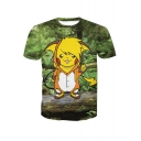 3D Cute Cartoon Printed Round Neck Short Sleeve Leisure Tee