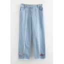 Stylish Cat Fish Embroidered Zip Fly Raw Hem Jeans